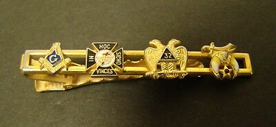 MASON SHRINER TIE CLIP BAR 32nd Degree In Hoc Signo Vinces Gold Tone - Vintage