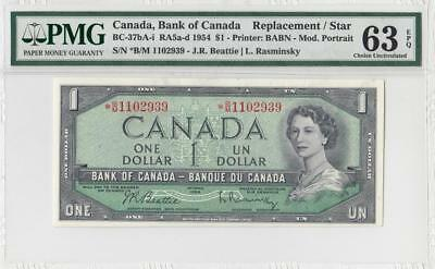 1954 Bank Of Canada Qeii $1 **star Note** (( Pmg 63 Epq ))