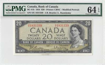 1954 BANK OF CANADA QEII $20 **Beattie & Rasminsky** (( PMG 64 EPQ ))