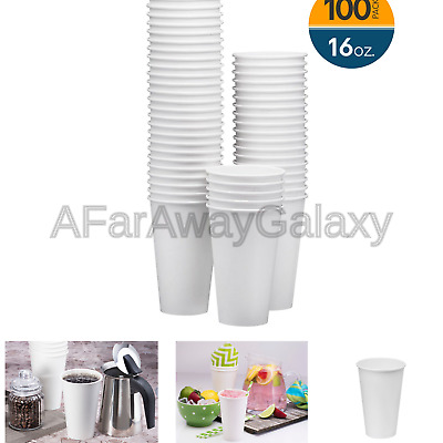 NYHI 100-Pack 16oz White Paper Disposable Cups  Hot/Cold Beverage Drinking Cu...
