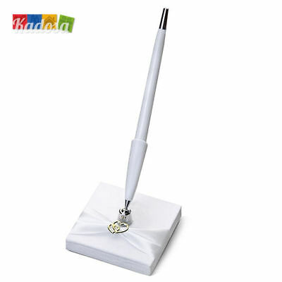 Base Penna Matrimonio Bianco Perla con Raso e Cuori Wedding Pen Stand Guest Book