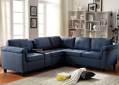 Stupendous Espresso Pu Blue Linen Sectional Sofa Couch W Console Alphanode Cool Chair Designs And Ideas Alphanodeonline