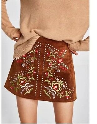 ZARA Sold out RRP £69.99 Embroided embelished suede leather skirt size M BNWT