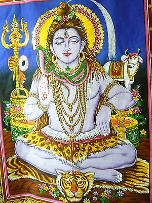 """Hand Sequined Hindu God Shiva """"the Destroyer"""" Wallhanging/tapestry+Fine Art Book"""