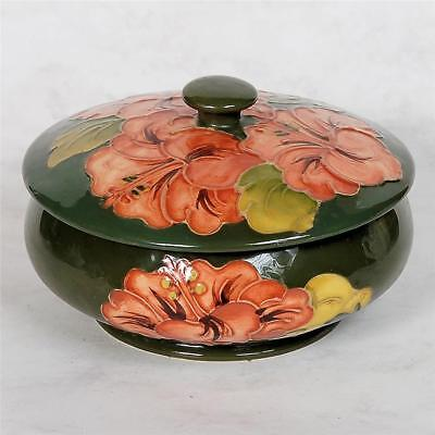 Moorcroft Signed Cover Dish - Coral/peach Hibiscus