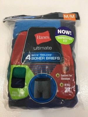 Hanes Boys Tagless Boxer Briefs 4 Pack  Assorted Colors Size Medim 10-12 New