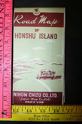 Vintage 1950s Road Map Honshu Island Japan Approved by Construction Ministry