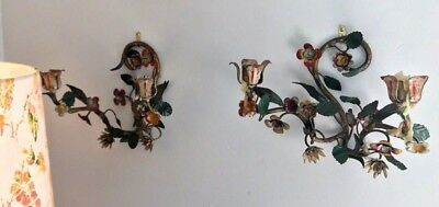 Pr Vintage Italian Tole Floral Candle Metal Sconces & Candle Holder