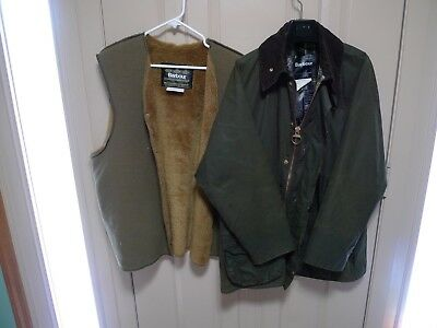 Barbour - A150 Beaufort Waxed Cotton Jacket & Liner-Sage-Shabby Chic--Size 44