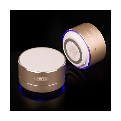 Portable Bluetooth speaker, UNITEK Aluminum Wireless Micro SDSD/TF card Gold New