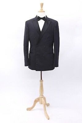 Suits & Suit Separates Brioni Mercadante Black Wool Double Breasted Tuxedo Jacket And Pants Size 48
