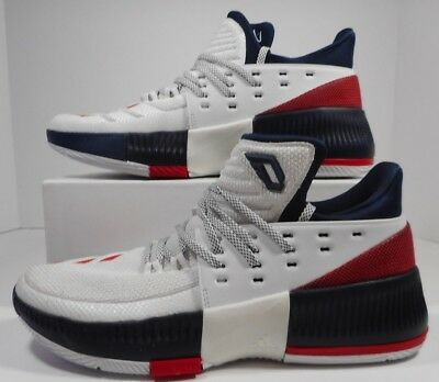 344b0f425156 ADIDAS NEW MEN S Dame 3 Damian Lillard Basketball Sneaker - White Red   BY3762  -  79.99