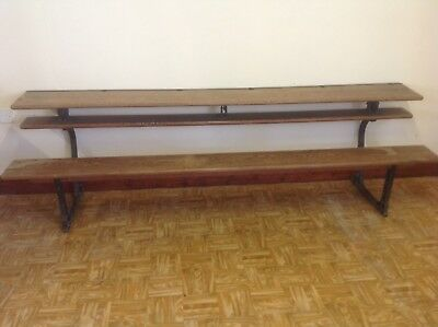 Gothic victorian Cast Iron-pitch Pine Metamorphic School Desk/chapel Benches