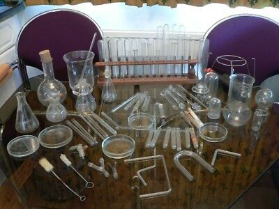 Antique Chemistry Glassware & Chemistry books
