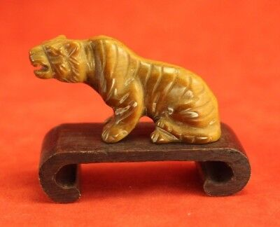 Vintage Chinese Carved Tiger Eye Stone - Roaring Tiger on Stand