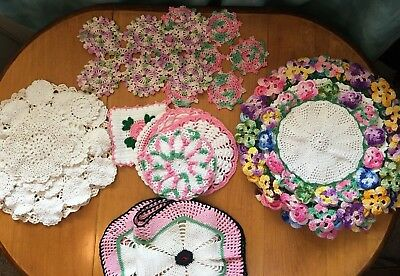Antique Estate Treasure! 27 Hand Crocheted Doilies, Antimacassars, Pot Holders**