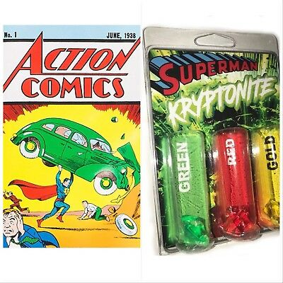 ACTION COMICS #1 DC Official Reprint w/ CoA Superman Loot Crate & Kryptonite Set