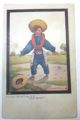 VINTAGE POSTCARD signed by artist WALL Leap Frog boys, #532 Ullman Pub. unposted