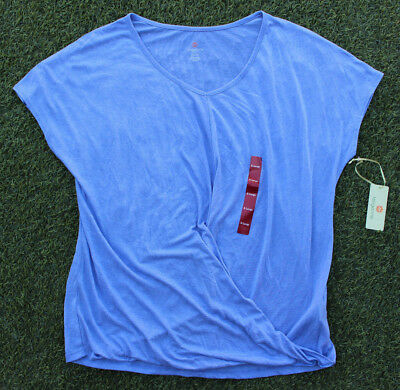 Tangerine Women's Active Top Twisted Front Tee Soft Loose Fit Shirt Heather Blue