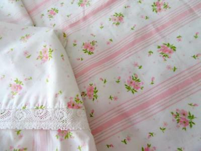 Vintage Shabby Chic SPRINGMAID Full Flat Simply Pink Roses Lace Ticking Stripes