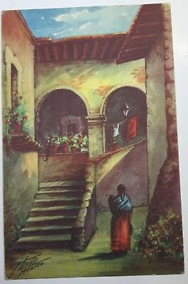 VINTAGE ART POSTCARD by HUGO, printed in Mexico, villa scene posted