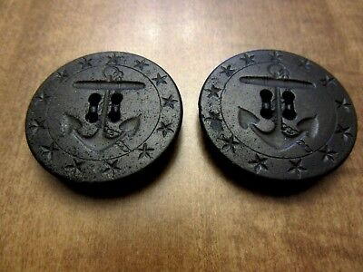 Vintage Antique Pair of Black Anchor & Star Navy Peacoat Buttons 13 Stars