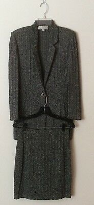 St John Collection Marie Gray Wool Blend Cable Knit Gray Career Skirt Set Size 2
