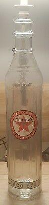 """Texaco 1 Qt Tall Glass Motor Oil Bottle Without Spout 15"""" Tall"""