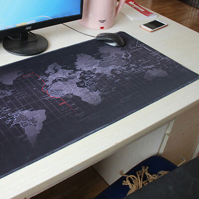 Office Black World Map Large Extended Rubber Speed Gaming Mouse Pad Desk Pad Mat
