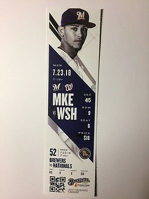 Milwaukee Brewers Vs Washington Nationals July 23, 2018 Ticket Stub