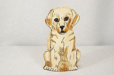 "CUTE! Nina Lyman Dogs Sitting Young Golden Retriever VASE  8 1/2""  EUC"