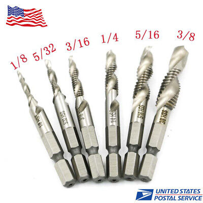 6PCS Hex Shank High Speed Steel Spiral Screw Thread Taps Drill Bits Set for Hole