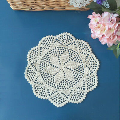 4Pcs/Lot Ecru Vintage Hand Crochet Lace Doilies Round Placemats 12inch Wedding