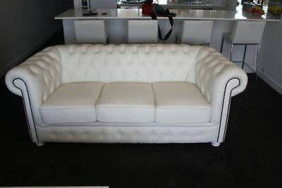 A Classical White Chesterfield 3 Seat Sofa 100% Leather