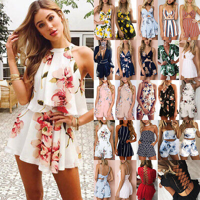 AU Women Holiday Floral Playsuit Rompers Dress Ladies Summer Beach Mini Jumpsuit