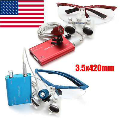 2 Color Dental Loupes 3.5X 420mm Surgical Medical Binocular With Head Light Lamp