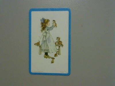 """1 Swap/Playing Card -Cute """"Sarah Kay"""" Girl with Lots of Cats/Kitten (Blank Back)"""