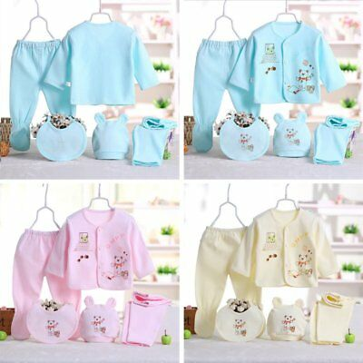 5Pcs Newborn Infant Baby Girl Boy Shirt +Pants +Hat+Bid Set Outfits Clothes AU
