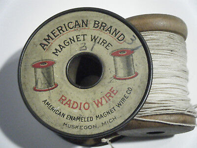 Vintage AMERICAN BRAND MAGNET WIRE RADIO WIRE Tin Advertising, Extra Spool, 1920