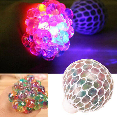 Colorful Flashing LED Night Light Vent Grape Squeeze Ball AntiStress Decompressi