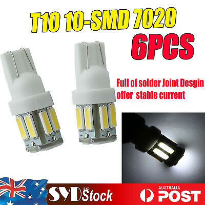 T10 LED 10-SMD 7020 W5W Wedge Bulb Car Dome Interior Map Lights Lamps White 6pcs