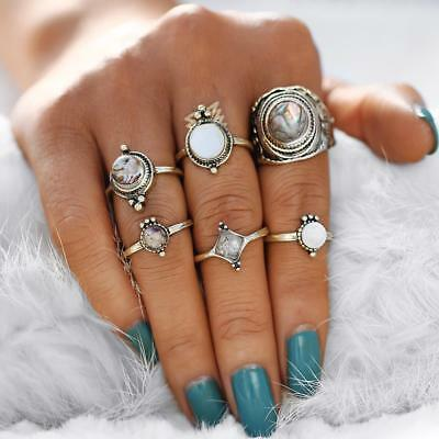Women Ring Set Big Stone Finger Antique Gold Color Knuckle Type 6pcs New Jewelry