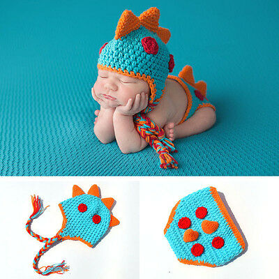 Dinosaur Baby Costume Newborn Crochet Knit Hat Pant Outfit Photography Prop Cute