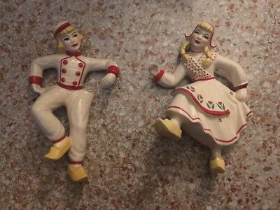 Vintage Ceramic Arts Studio Dutch Boy & Girl Pair Of Wall Plaques In Red White