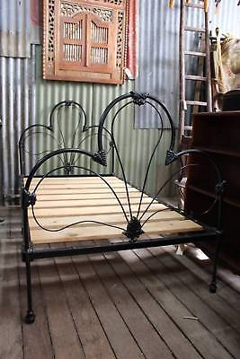 An Antique Victorian French Influenced Wrought Iron 3/4 Single Bed