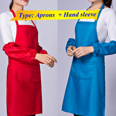 Cooking Bib Apron With Pockets Thicken Cotton Polyester Blend Anti-wear + sleeve
