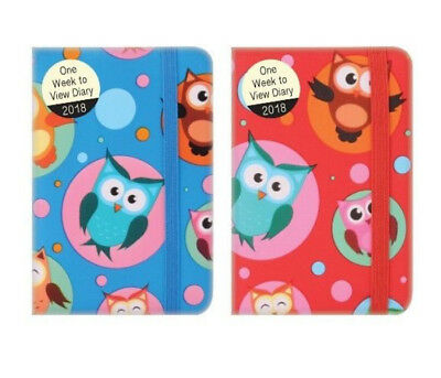 1 x 2018 One Week To View Pocket Diary Small Notes Information - Red Blue Owls