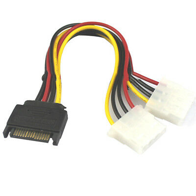 15 Pin SATA Male to 4 Pin Molex 2 Female IDE HDD Power Hard Drive Cable Adapter