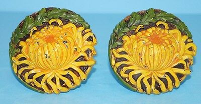 ANTIQUE PAIR TIGER MUMS FLOWER CAST IRON CURTAIN TIE BACKS CHRYSANTHEMUMS 1920's