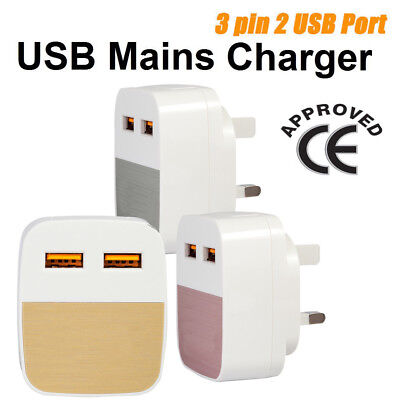 CE 3 Pin Dual USB Universal Fast Charging Mains Wall Charger Plug For all Gadget